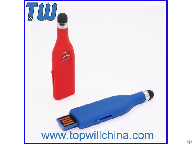 Plastic Stylus Pen Usb Flash Disk With Free Logo Printing