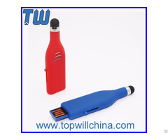 Plastic Stylus Pen Usb Flash Disk With Free Logo Printing