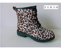 Girl S Leopard Pattern Injection Lace Boots