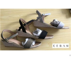 Lady Elegant Sandals With Wedge Outsole