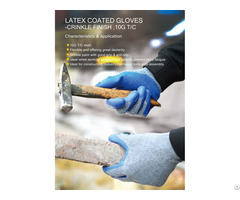Yarn Latex Wrinkle Non Slip Wear Resistant Breathable Handling Construction Protective Gloves