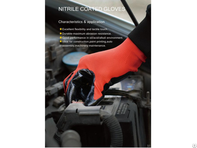 Velvet Nitrile Oil Proof Waterproof Construction Chemical Protective Gloves
