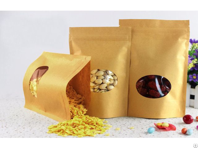 650g Capacity Kraft Paper Standup Bag With A Clear Oval Window