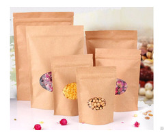 530g Capacity Kraft Paper Standup Bag With A Clear Oval Window