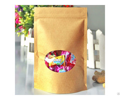 300g Capacity Kraft Paper Standup Bag With A Clear Oval Window
