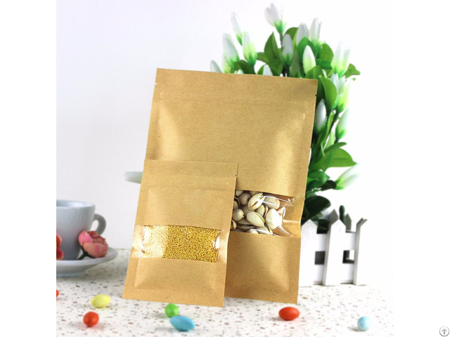 400g Capacity Kraft Paper Standup Bag With A Clear Square Window