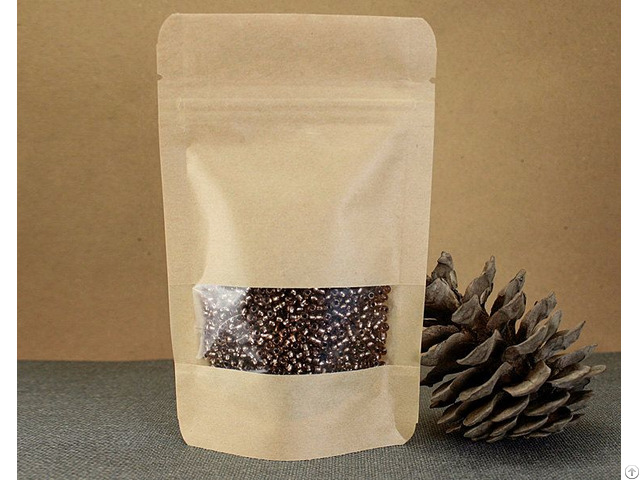 250g Capacity Kraft Paper Standup Bag With A Clear Square Window