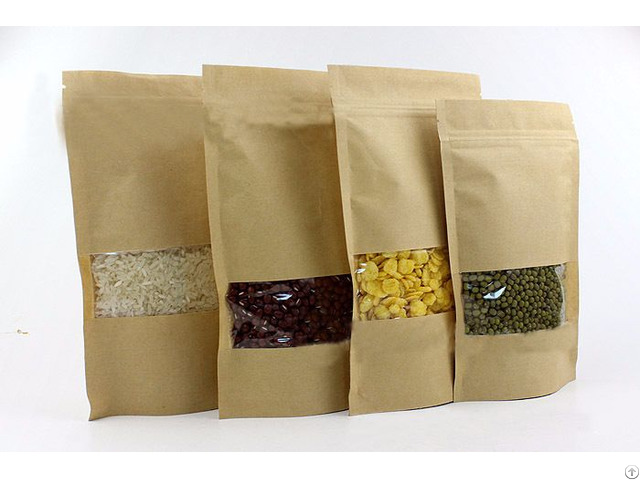 200g Capacity Kraft Paper Standup Bag With A Clear Square Window