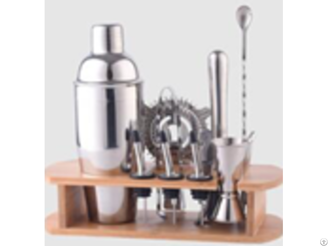 Amazon Hot Sale Stainless Steel Mini Metal Cocktail Shaker Set Bartender Kit With Wood Stand