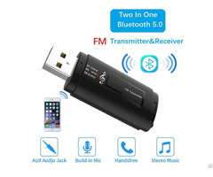Hot Sale Two In 1 Bluetooth 5 0 Car Fm Transmitter And Receiver