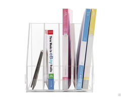 Acrylic Desktop Literature Organizer Journal And Document File Folder Storage Show Rack