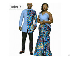 African Couple Cotton Clothing Wax Printing Women Dress And Men S Shirt
