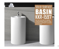 Kkr Factory Direct Sale Freestanding Solid Surface Bathroom Hand Wash Basin