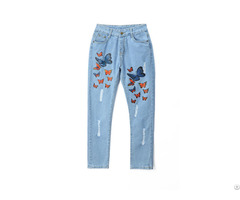 Hot Sale Rubber Print Hand Brush New Pattern Latest Design Jeans Pants For Girls