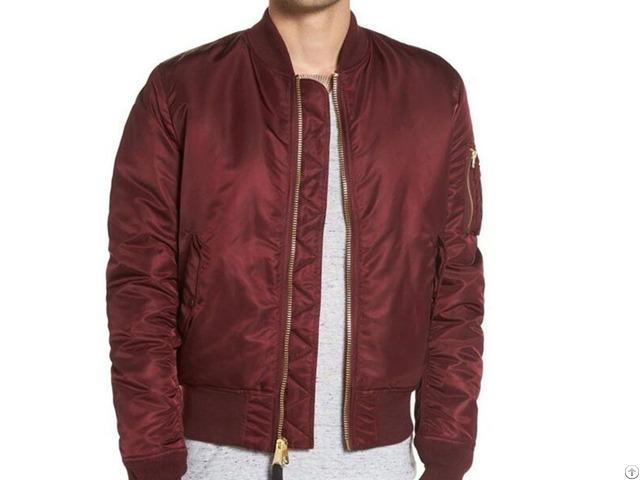 Custom 100% Polyester Solid Wine Red Color Plain Padded Bomber Jacket Men