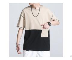 Custom Color Block Two Tone Screen Print Pocket T Shirt