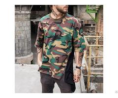Custom Cotton Camo T Shirts Printed Color Block Oversized Street Wear