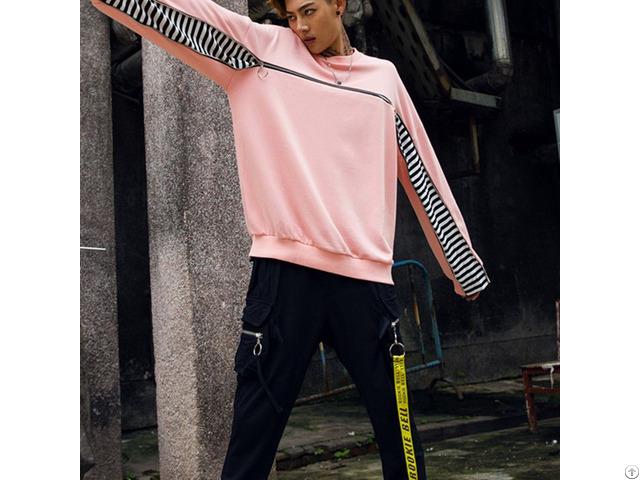Hot Custom Zipper Design Blank Cotton Mens Crew Neck Fashion Oversized Streetwear Sweatshirts