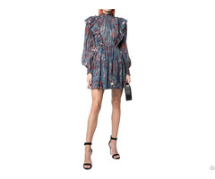 Long Sleeve Layers Of Frills Blue Floral Print Ruffle Dress Mini Women