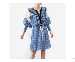 Fashion Vintage Print Summer Dress Women Lantern Sleeve