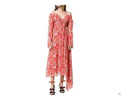 Custom Silk Asymmetrical Hem Floral Print Off The Shoulder Maxi Dress