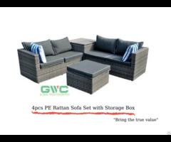 Four Pieces Pe Rattan Sofa Set With Storage Box