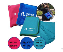 Cushion Pillow 2 In 1 Polar Fleece Travel Blanket With Zippered Pocket Custom Logo