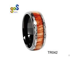 Koa Wood Jewelry Design Unique Fashion Tungsten Carbide Ring