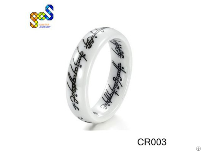 White Ceramic Shiny With Laser Engrave And Comfort Fit