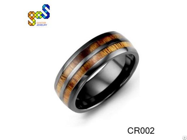 Ceramic Wood Ring Design And Polished Shiny