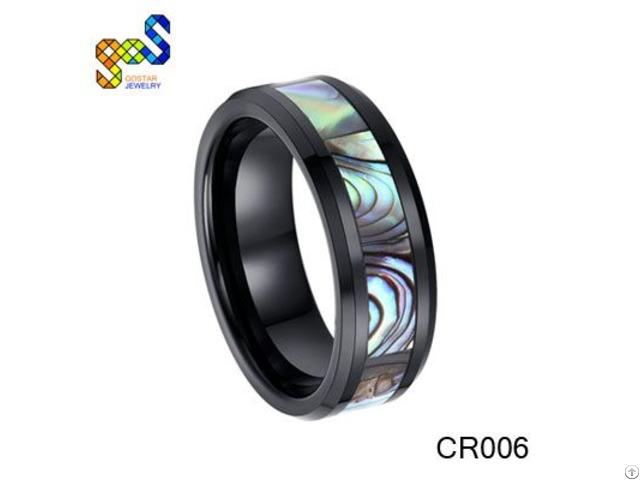 Black Ceramic Ring With Abalone Shell Polished Shiny And Beveled Edges