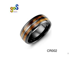 Ceramic Wood Ring Design And Polished Shiny