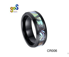 Black Ceramic Ring With Abalone Shell Polished Shiny And Beveled Edges