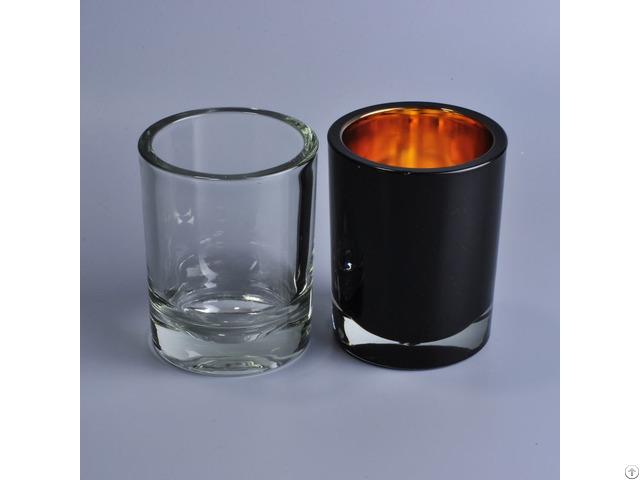 Cylinder Spray Black Glass Candle Jars