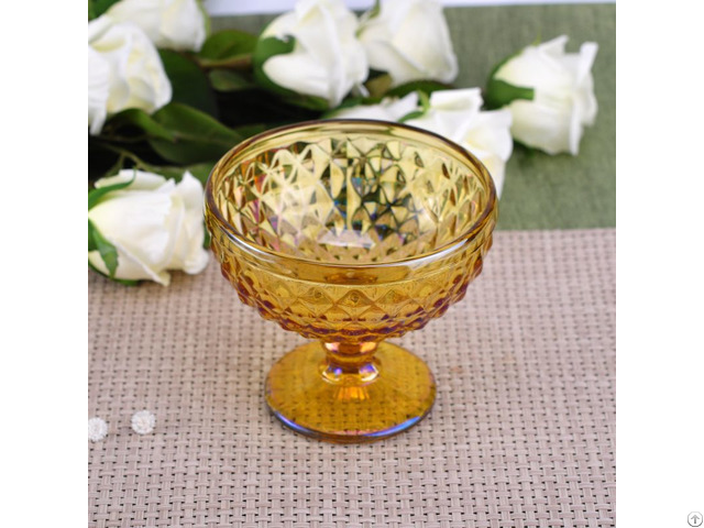 Amber Ion Plating Stemmed Glass Candle Holder