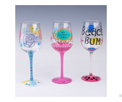 Artistic Hand Painted Long Stemmed Wine Glass For Promotion