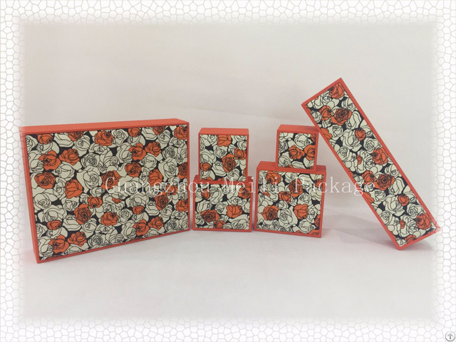 Hot Sell Orange Rose Fabric Plastic Jewelry Box