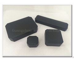 Black Straight Line Texture And Creamy White Velvet Octagon Jewelry Box
