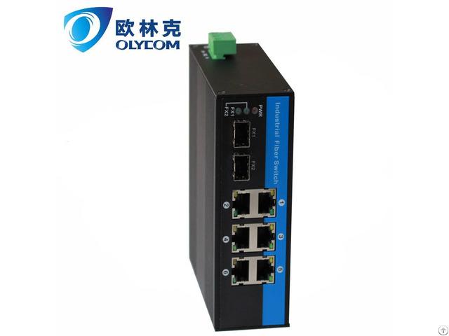 Gigabit 2fiber To 6 Utp With Poe Industrial Fiber Switch For Surveillance