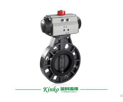 Upvc Plastic Pneumatic Wafer Butterfly Valve With Actuator Control