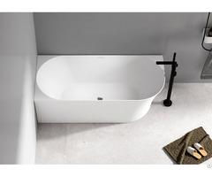 Freestanding Space Saving Acrylic White Glossy Corner Bathtub