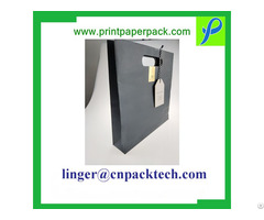 Black Custom Printing Pouch Paper Bag With Spot Uv And Hanger Tag
