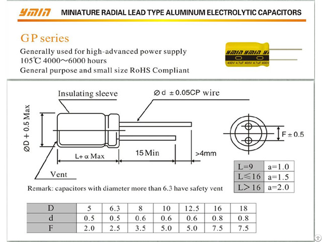 Gp Radial Lead Aluminum Electrolytic Capacitor Special For Usb Charger Power Supply