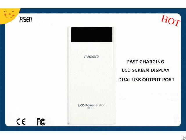 Smart Portable Pisen Power Bank 20000mah Lcd Screen Display Dual Usb Output Ce Fcc Certificate
