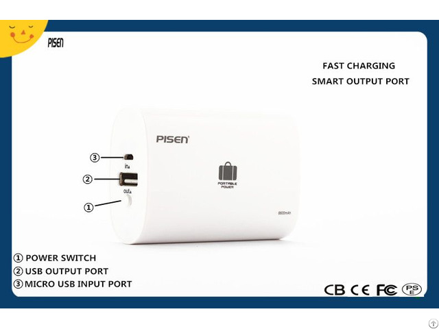 Pisen Portable Power Bank 6600mah External Battery Charger Cb Ce Fcc Pse Certificate