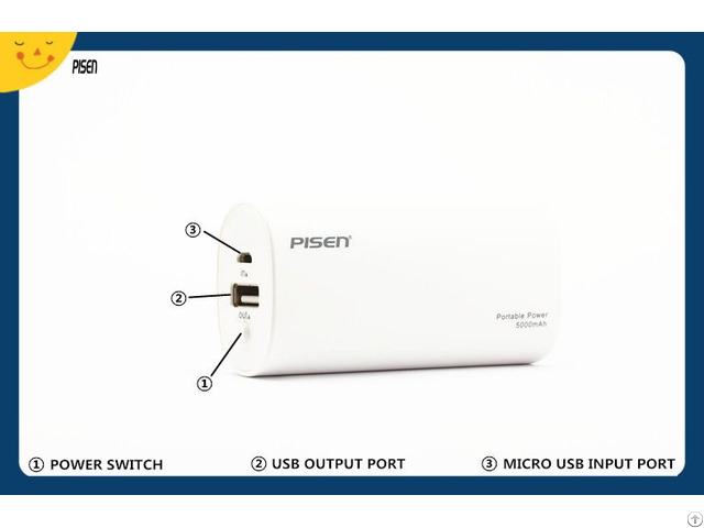 External Battery Charger Pisen Power Bank 5000mah For Mobile Phone