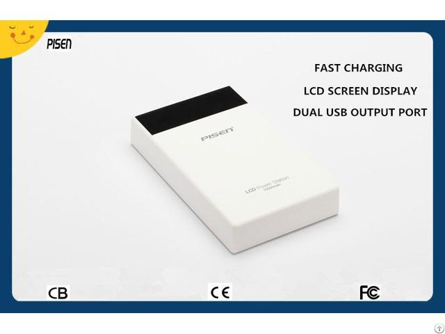 Cb Ce Fcc Certificate Dual Usb Pisen Power Bank 10000mah Lcd Screen Display For Mobile Phone