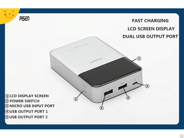 Dual Usb Fast Charging Portable Pisen Power Bank 10000mah Lcd Screen Display For Smartphone