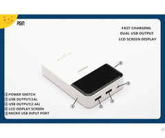 Portable Charger Pisen Power Bank 10000mah Lcd Screen Display Dual Usb Output Cb Ce Fcc Certificate