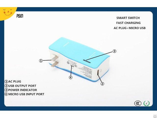 Ccc Rohs Certificate Fast Charging Pisen Power Bank 7500mah With Ac Plug For Mobile Phone